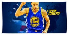 Stephen Curry Hand Towel by Semih Yurdabak