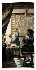 The Artist's Studio Hand Towel by Jan Vermeer