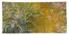 The Path Through The Irises Hand Towel by Claude Monet