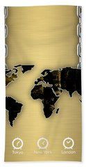 World Map Collection Hand Towel by Marvin Blaine