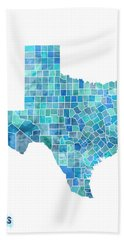 Texas Watercolor Map Hand Towel by Michael Tompsett