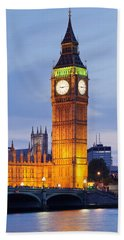 View Of Big Ben And Houses Hand Towel by Panoramic Images