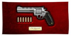 .44 Magnum Colt Anaconda On Red Velvet  Hand Towel by Serge Averbukh
