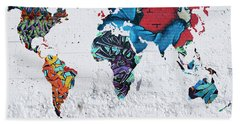 Map Of The World Hand Towel by Mark Ashkenazi