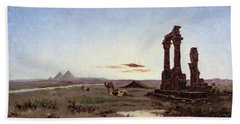 A Bedouin Encampment By A Ruined Temple  Hand Towel by Alexandre Gabriel Decamps