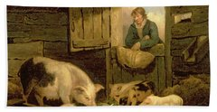 A Boy Looking Into A Pig Sty Hand Towel by George Morland