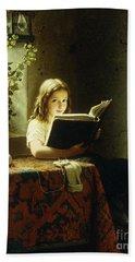 A Girl Reading Hand Towel by Johann Georg Meyer