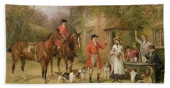 A Meeting At The Three Pigeons Hand Towel by Heywood Hardy