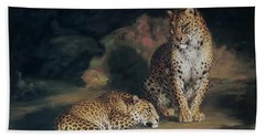 A Pair Of Leopards Hand Towel by William Huggins