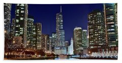 A View Down The Chicago River Hand Towel by Frozen in Time Fine Art Photography