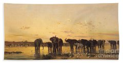 African Elephants Hand Towel by Charles Emile de Tournemine