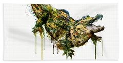 Alligator Watercolor Painting Hand Towel by Marian Voicu