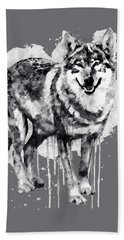 Alpha Wolf Black And White Hand Towel by Marian Voicu