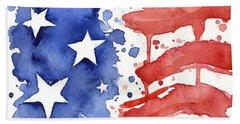American Flag Watercolor Painting Hand Towel by Olga Shvartsur