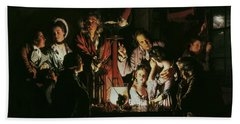 An Experiment On A Bird In The Air Pump Hand Towel by Joseph Wright of Derby
