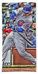 Anthony Rizzo Chicago Cubs Hand Towel by Joe Hamilton
