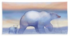 Arctic Bears, Journeys Bright Hand Towel by Tracy Herrmann