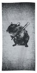 Angry Street Art Mouse  Hamster Baseball Edit  Hand Towel by Philipp Rietz