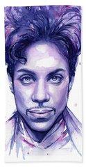 Prince Purple Watercolor Hand Towel by Olga Shvartsur