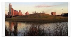 Birds And Fun At Butler Park Austin - Silhouettes 1 Poster And Greeting Card Hand Towel by Felipe Adan Lerma