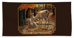 Whitetail Deer - Autumn Innocence 2 Hand Towel by Crista Forest
