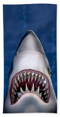 Jaws Great White Shark Art Hand Towel by Walt Curlee