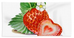 Artz Vitamins A Strawberry Heart Hand Towel by Irina Sztukowski