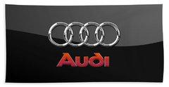 Audi 3 D Badge On Black Hand Towel by Serge Averbukh