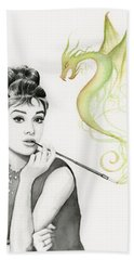 Audrey And Her Magic Dragon Hand Towel by Olga Shvartsur