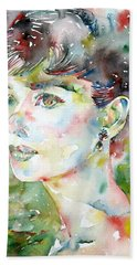 Audrey Hepburn  Watercolor Portrait.4 Hand Towel by Fabrizio Cassetta