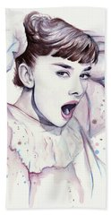 Audrey - Purple Scream Hand Towel by Olga Shvartsur