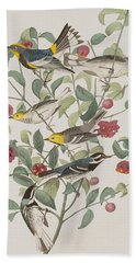 Audubons Warbler Hermit Warbler Black-throated Gray Warbler Hand Towel by John James Audubon