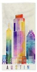 Austin Landmarks Watercolor Poster Hand Towel by Pablo Romero