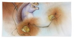 Autumn Come Softly Squirrel Hand Towel by Tracy Herrmann