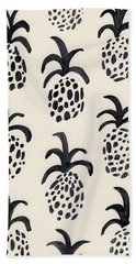 B And W Pineapple Print Hand Towel by Anne Seay