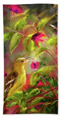 Baltimore Oriole Art- Baltimore Female Oriole Art Hand Towel by Lourry Legarde