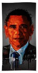 Barack Obama Acrylic Portrait Hand Towel by Georgeta Blanaru
