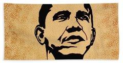 Barack Obama Original Coffee Painting Hand Towel by Georgeta  Blanaru