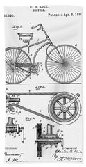 Bicycle Patent 1890 Hand Towel by Bill Cannon