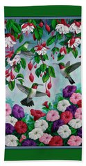 Bird Painting - Hummingbird Heaven Hand Towel by Crista Forest