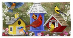 Bird Painting - Primary Colors Hand Towel by Crista Forest