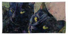 Black Cats Hand Towel by Michael Creese