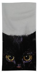 Black Kitten Hand Towel by Michael Creese