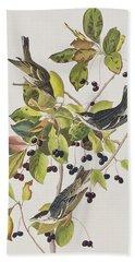 Black Poll Warbler Hand Towel by John James Audubon