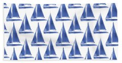 Blue And White Sailboats Pattern- Art By Linda Woods Hand Towel by Linda Woods