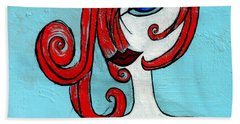 Blue Eyed Redhead In Green Dress Hand Towel by Genevieve Esson