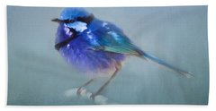 Blue Fairy Wren Hand Towel by Michelle Wrighton