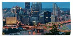 Blue Hour In Pittsburgh Hand Towel by Frozen in Time Fine Art Photography