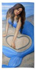 Blue Mermaid's Heart Hand Towel by Sue Halstenberg