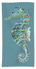 Blue Seahorse Hand Towel by Amy Kirkpatrick